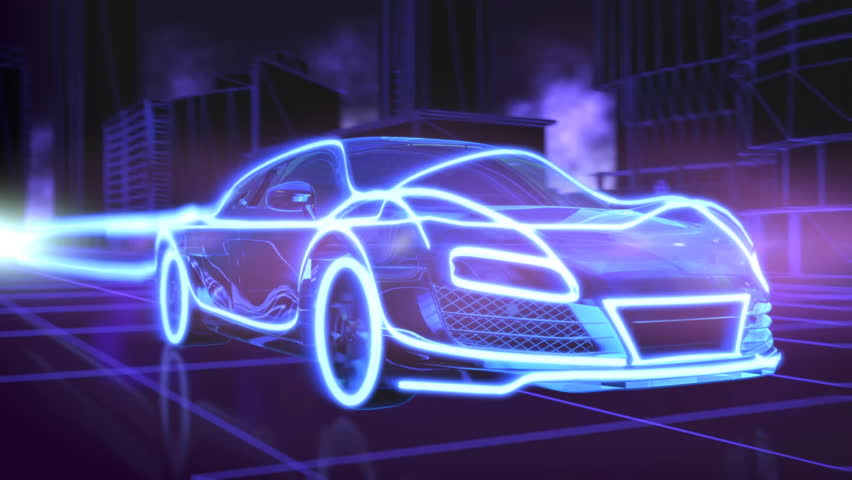 Abstract animation of a futuristic blue car in 4K UHD, cgi made with wireframes on an animated futuristic city background to highlight the automobile and it's technology and engineering #18444895