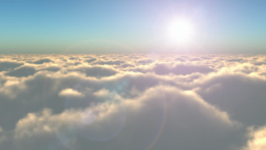 Scenic flight above the clouds towards the sun - HD stock footage clip