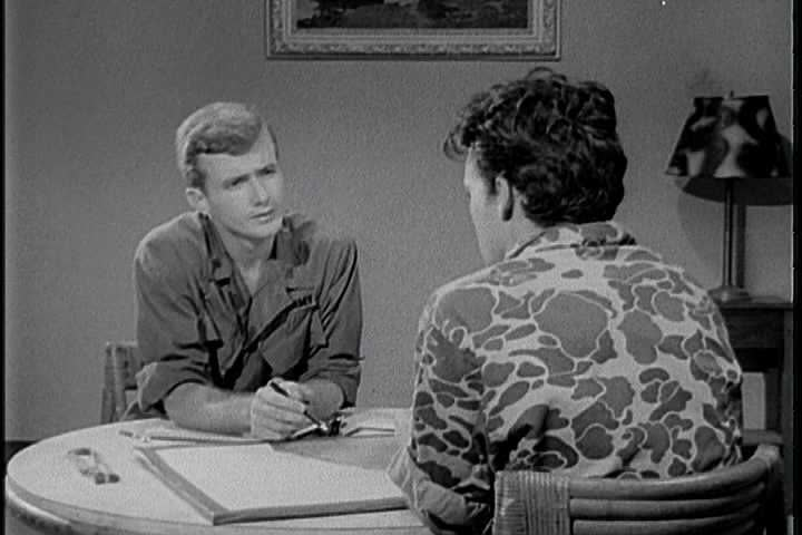 Utilizing the direct approach, a United States Army interrogator interrogates an enemy soldier in a Latin American country and has him, having reached his breaking point (1960s)