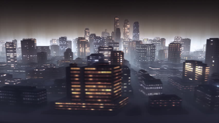 3d animated cityscape by night. Loop.