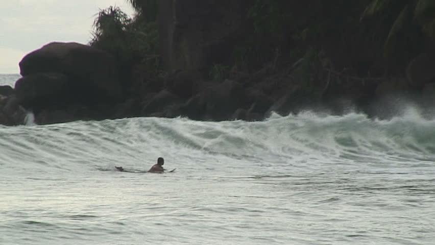 Surfers in Mirissa Sri Lanka - HD stock video clip