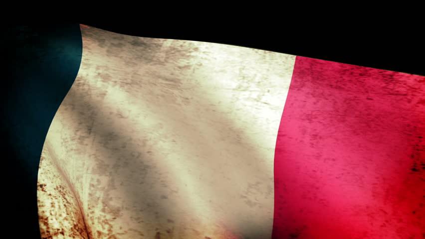 France Flag Waving, grunge look