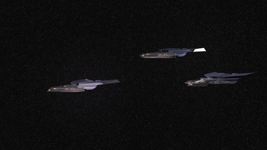 3 spaceships flying by a large gas giant, realistic motion blur and reflection. concept is planetary colonization - HD stock video clip