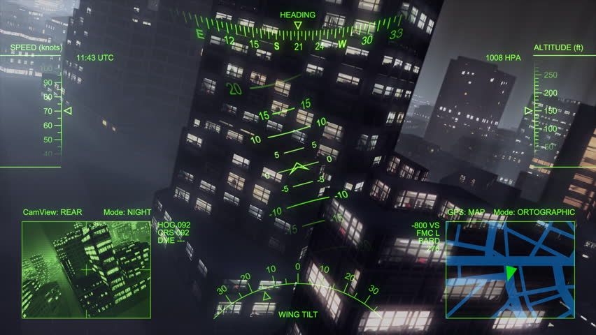 3d helicopter flight over big city at night. Loop.