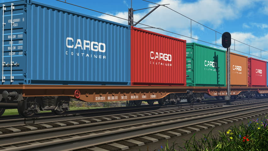 Freight train with cargo containers passing by | Shutterstock HD Video #1890565