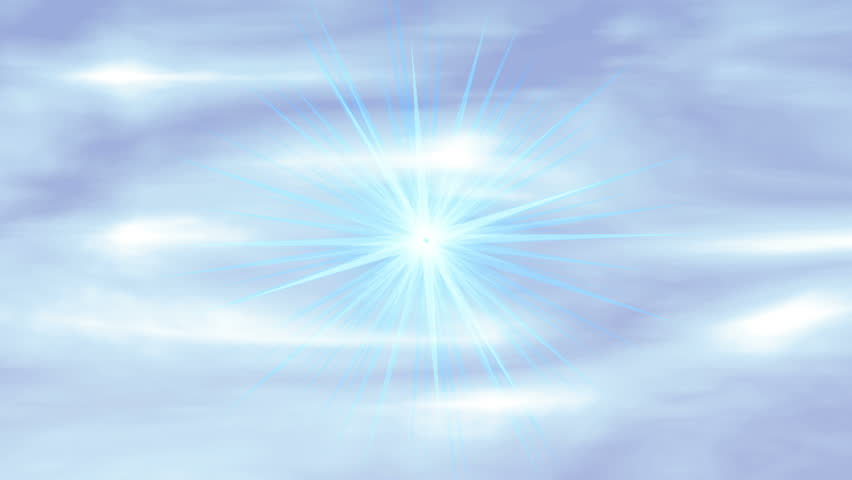 "Heavenly Rays ""Love"". Glowing sky background with light rays from heaven shimmering throughout the animation. The word ""Love"" flies toward and past the camera. - HD stock footage clip"