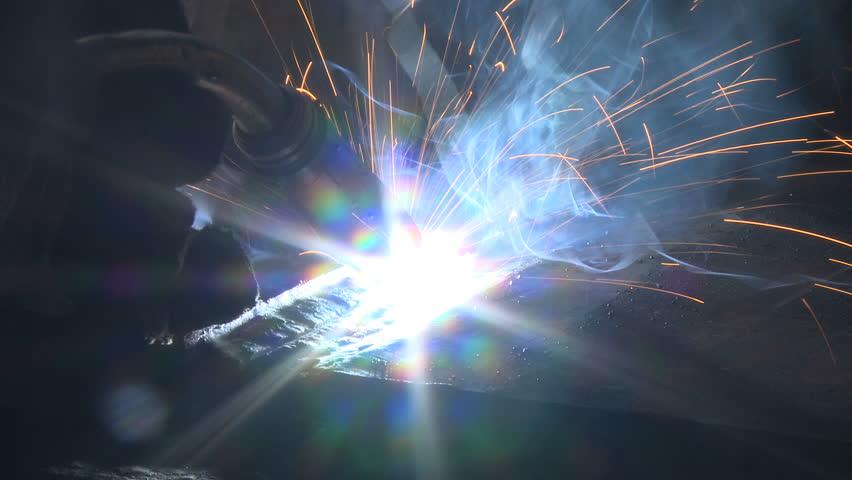 Gas arc welding - HD stock footage clip