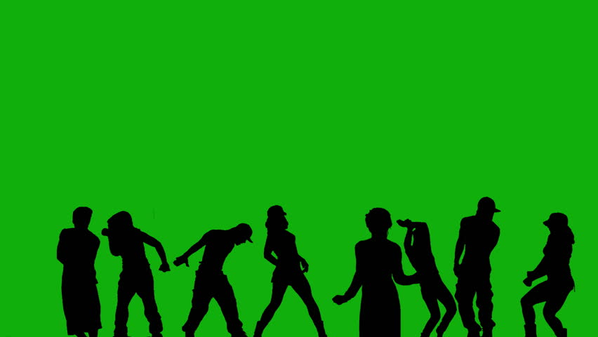 8 people dancing different styles against green screen. Alpha.  - HD stock footage clip