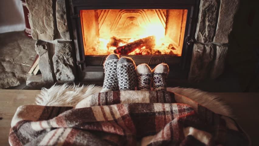 Couple Feet In Wool Socks By The Cozy Fireplace 4k Man