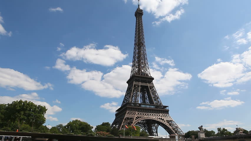 ruising along the river Seine with a view of the Eiffel tower in Paris,