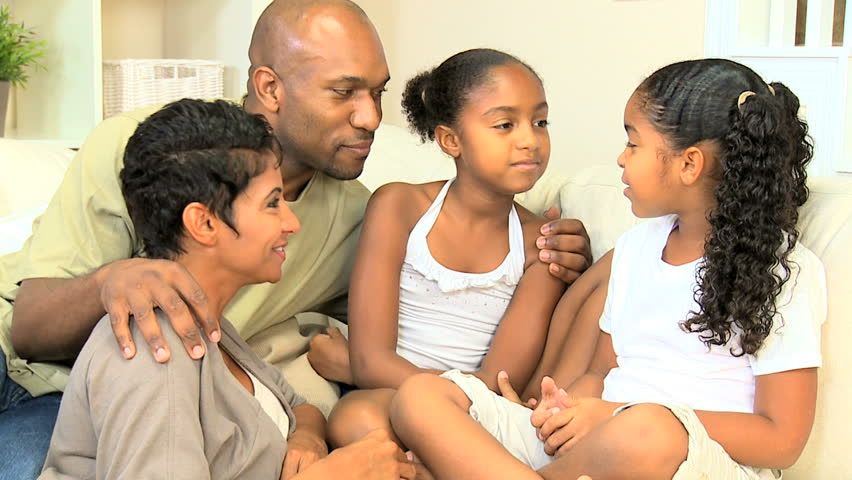 Attractive young african american family talking together - HD stock video clip