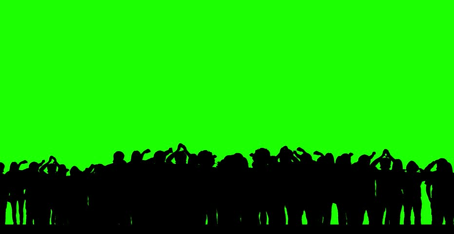 Dancing crowd (green screen) - silhouettes - HD stock video clip