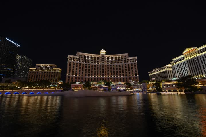 Bellagio Fountain Show Time Lapse.  This is a 4k time lapse of the fountains at Bellagio Hotel in Las Vegas.  | Shutterstock HD Video #19136572