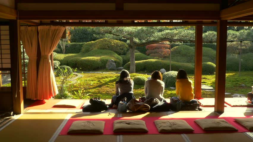 Japanese garden and house 3d render stock footage video for Japanese garden room