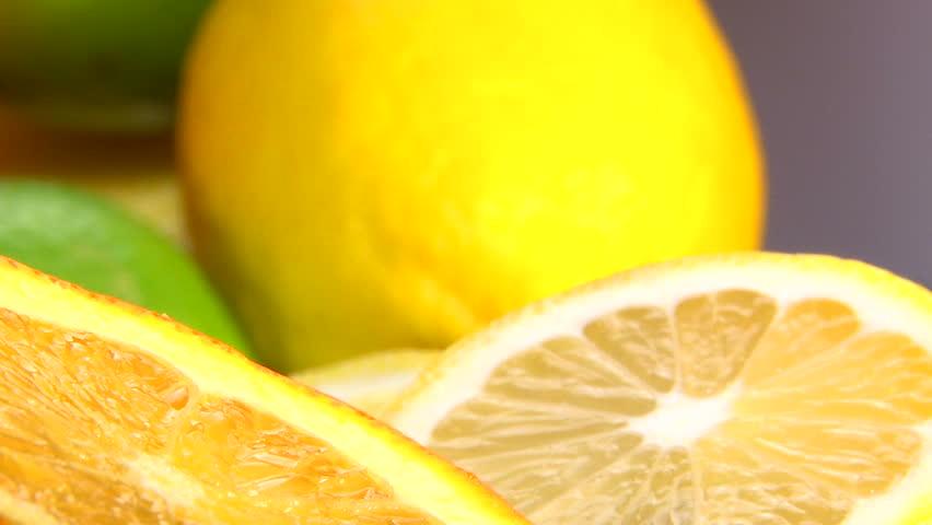 Citrus, Orange, lemon, camera dolly, extreme closeup - HD stock footage clip