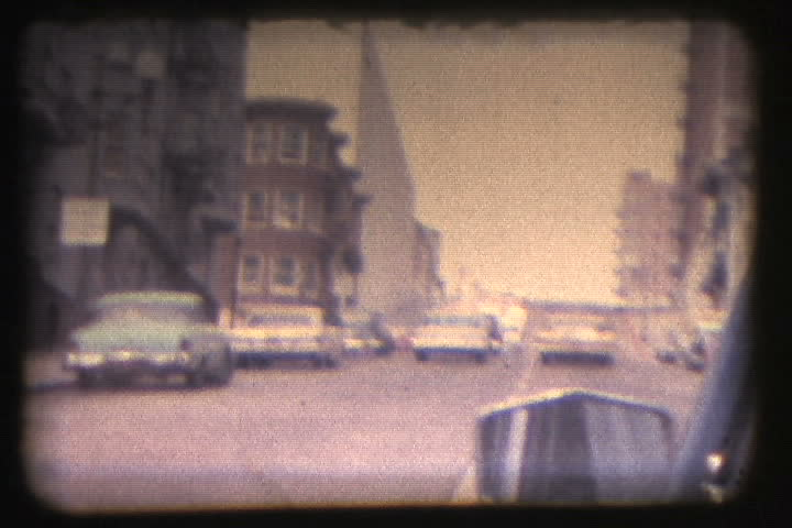 Awesome vintage 8mm film from the 60's traveling the streets of San Francisco in car.