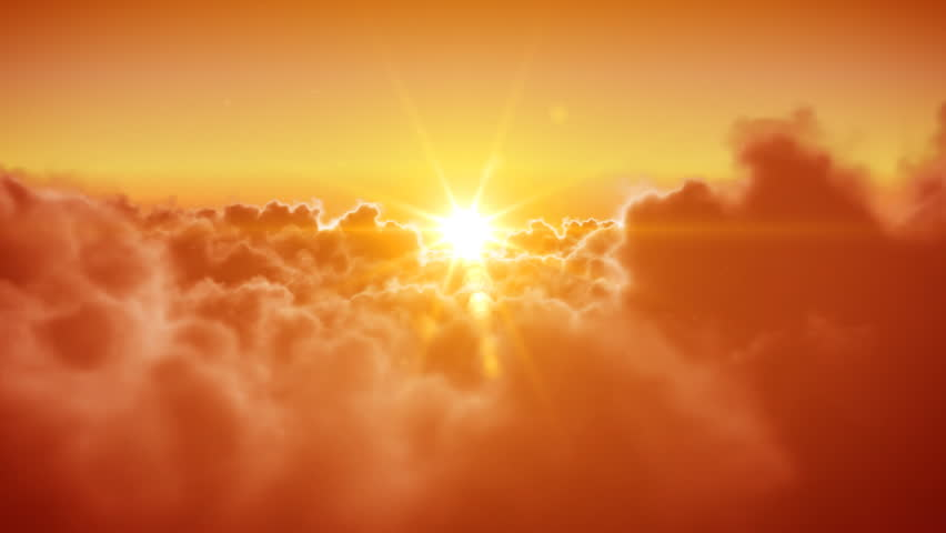 Beautiful Flying over the Clouds with the evening (morning) Sun. Seamless 3d animation. HD 1080.