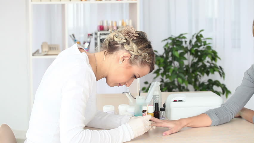 Manicure manicure finishes - HD stock video clip