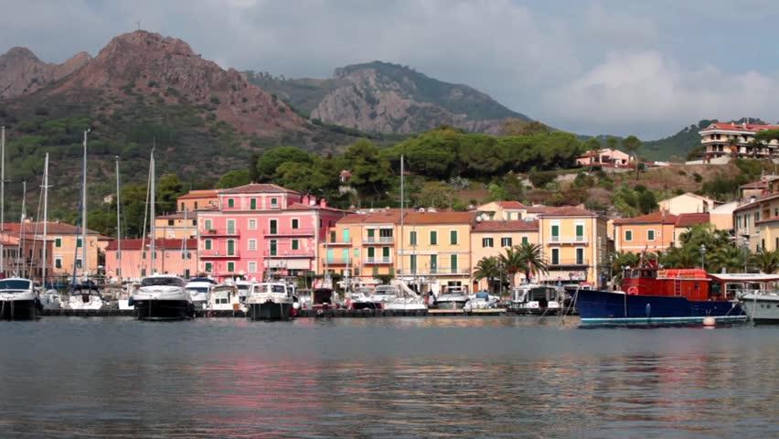 the small marina of Porto Azzurro, Elba Island, Tuscan Archipelago, Italy.