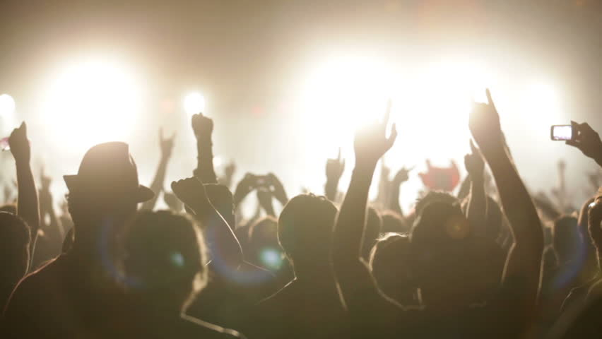 Footage of a crowd partying at a rock concert - HD stock video clip