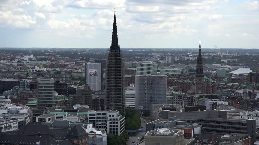 HAMBURG, GERMANY - AUGUST 23, 2014: Aerial view of Hamburg with the town hall and two churches. St. Petri is Hamburgs oldest church.  | Shutterstock HD Video #19367269