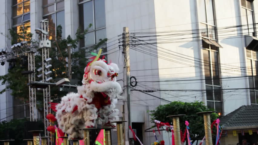Traditional lion dance during Chinese New Year