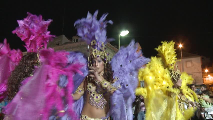 SESIMBRA, PORTUGAL - FEBRUARY 14: Brazilian Carnival event on February 14,  2010 in Sesimbra, Portugal. - HD stock video clip