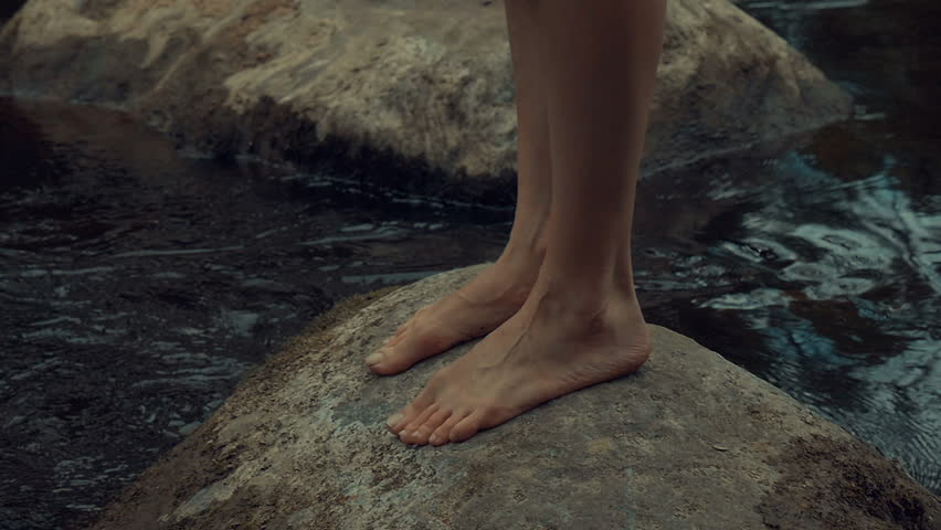Girl walks barefoot in the woods in a cloak   Shutterstock HD Video #19550122