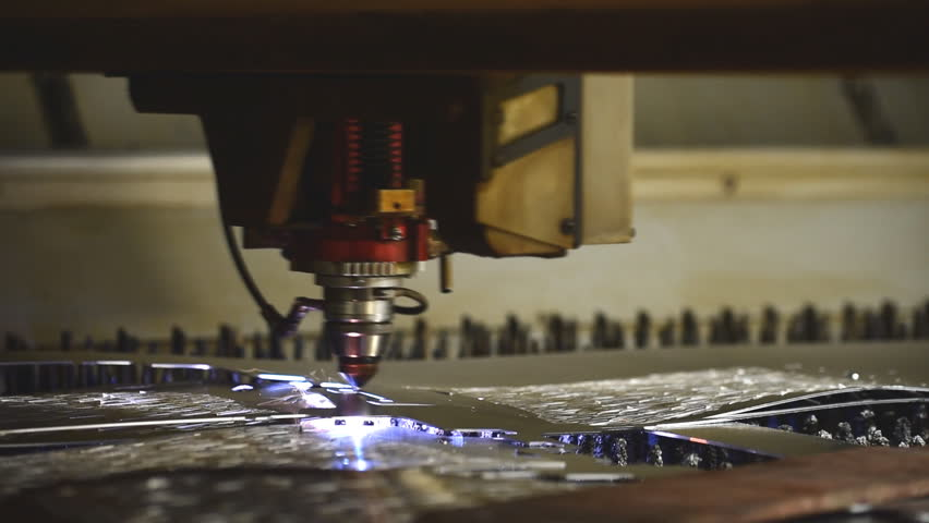 High precision  and high technology Laser machine working cut on curve metal sheet with Sparks fly from laser | Shutterstock HD Video #19550482