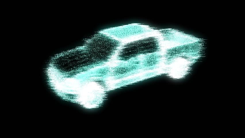 Truck Car in Hologram Wireframe Style. Nice 3D Rendering.     Shutterstock HD Video #19568266