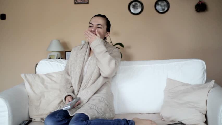 Woman watching tv  - HD stock video clip