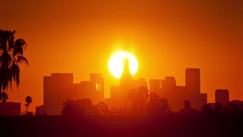 Los Angeles sunrise. Timelapse.