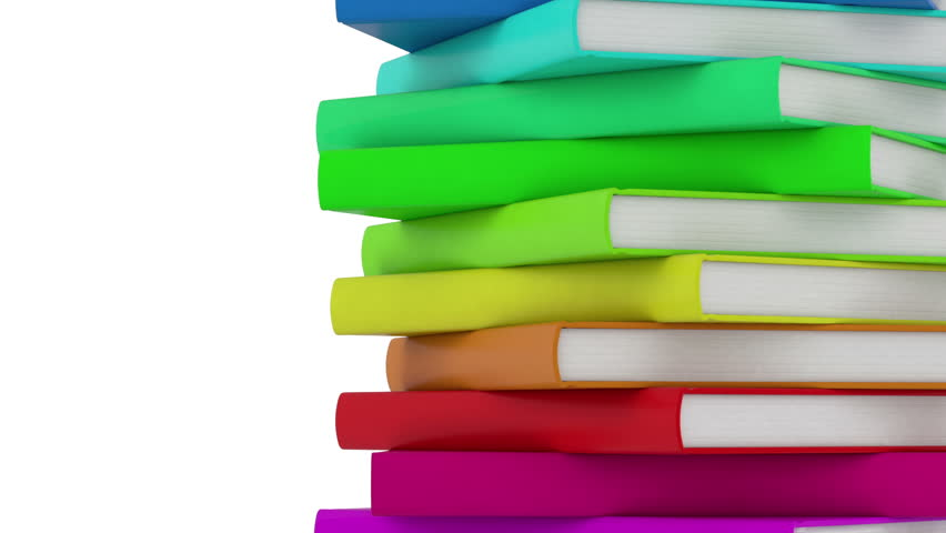 pile of books - high quality 3d animation - endless loop  - HD stock video clip