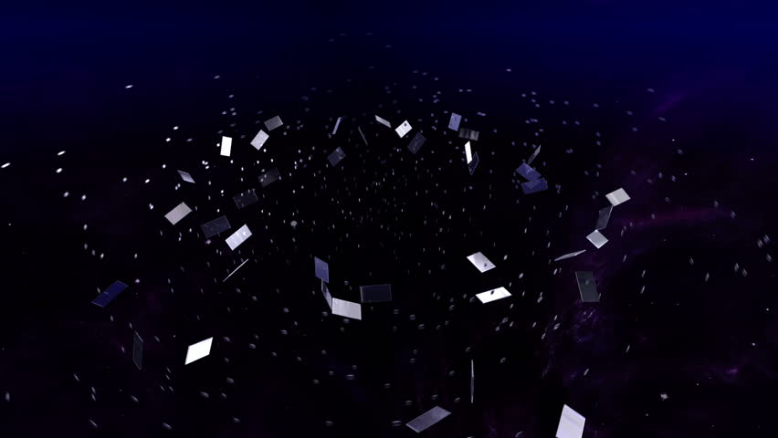 3D animation - Futuristic virtual space with stars and nebulas. Lot of glass parts making a film strip.