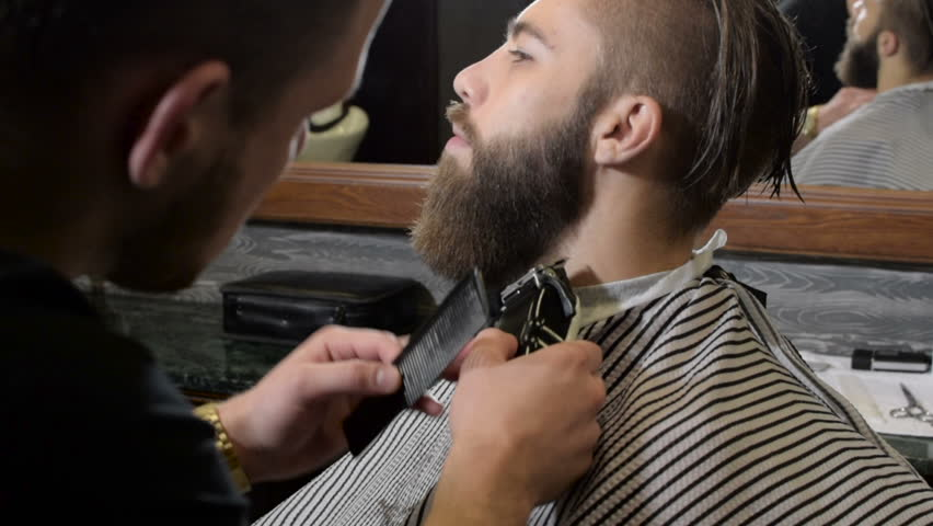 Beard trimming process from professional hairdresser in barbershop | Shutterstock HD Video #19677499