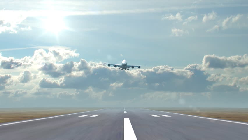 airplane landing against a background of running clouds, 3d animation - HD stock video clip