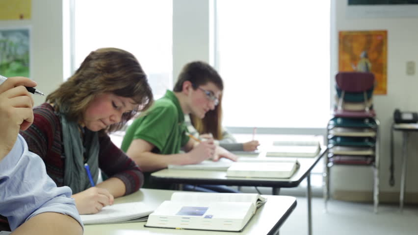 High School Students Taking Notes In Classroom Stock ...