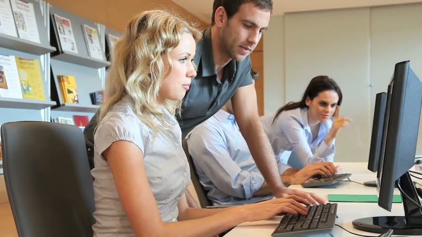 Group of office workers in multimedia room - HD stock footage clip