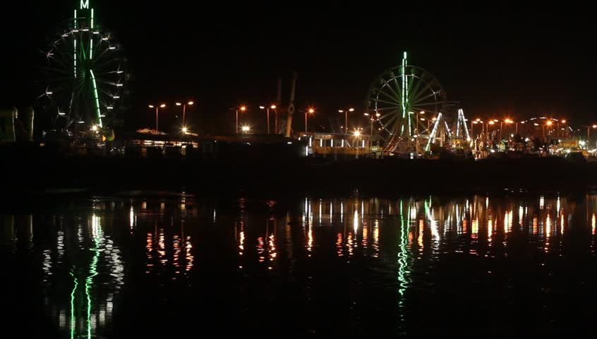 Amusement park at night. - HD stock footage clip