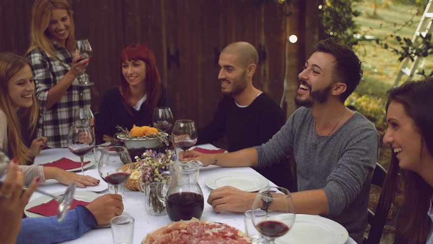 Superior Dinner Party Video Part - 5: Group Of Friends Enjoying Together At A Dinner Party - 4K Stock Video Clip