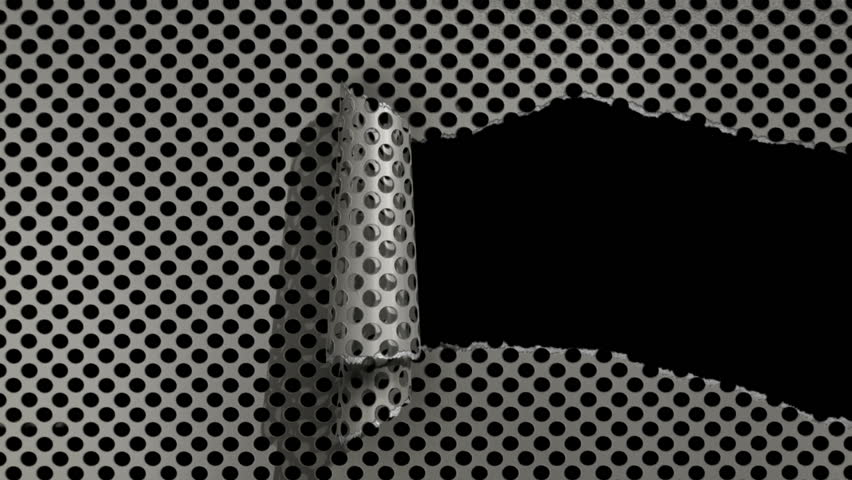 Ripping metal sheet animation with matte.