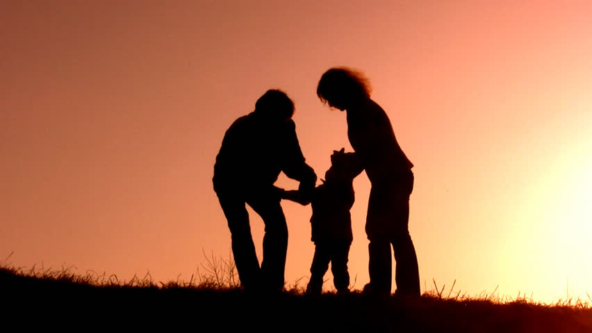 family sunset play - HD stock video clip
