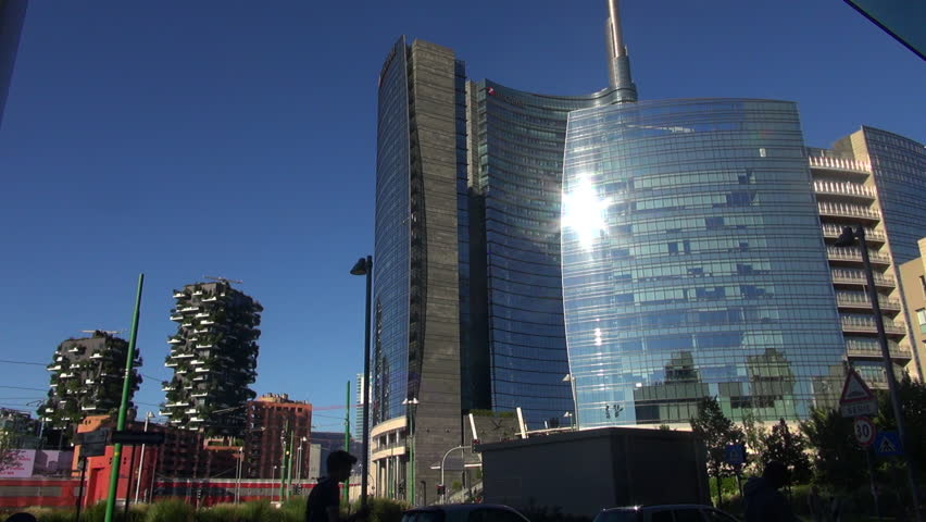 Milan, Italy, 2016: Unicredit Tower and skyscrapers of Porta Garibaldi, Vertical Forest and tower Solaria, 50fps, real time | Shutterstock HD Video #19918870