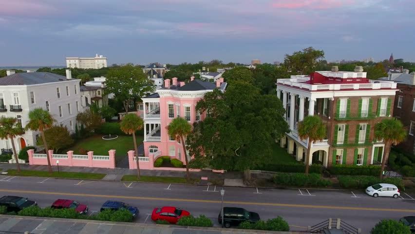 4k Aerial of Rainbow Row In Charleston SC at Sunrise | Shutterstock HD Video #20091229