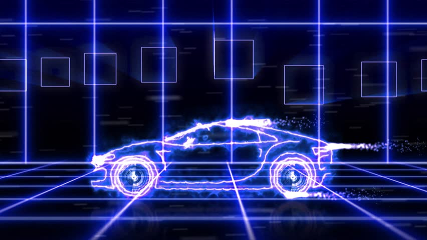 Abstract animation of blue futuristic super car made with light beam wireframes on futuristic city background scene. The automobile car and aerodynamic car motion design engineering technology. | Shutterstock HD Video #20098672