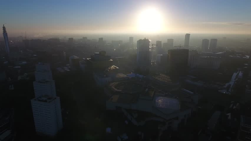 Aerial view of the Birmingham skyline at sunrise.   Shutterstock HD Video #20107159