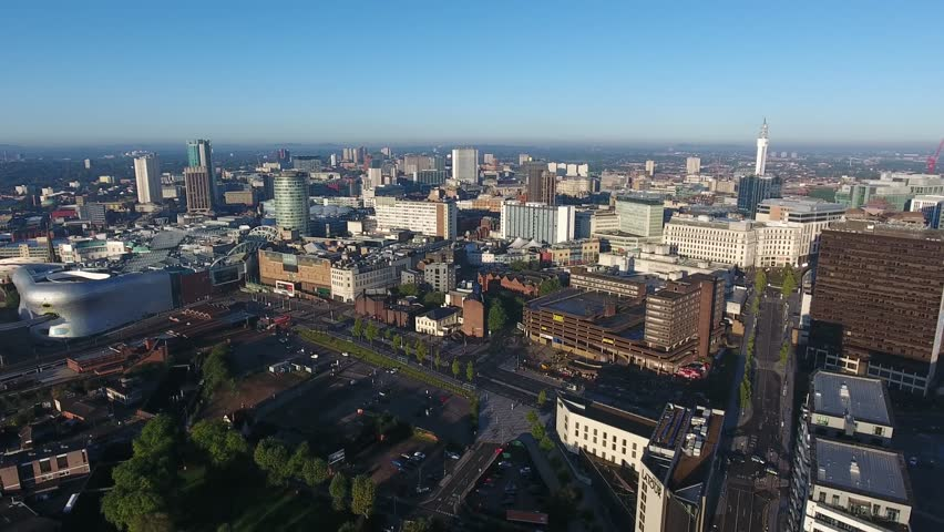 Aerial view flying backwards over Birmingham city centre in the UK. | Shutterstock HD Video #20117734