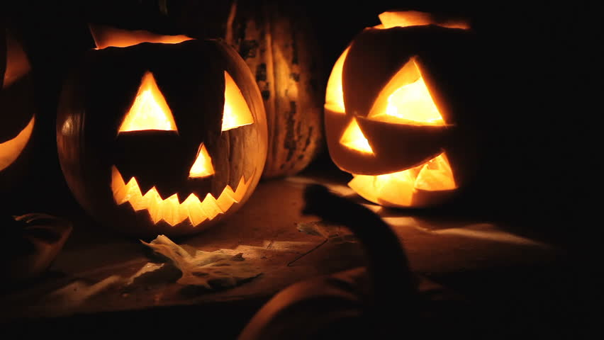 Glowing scary pumpkins at night on the steps | Shutterstock HD Video #20165839