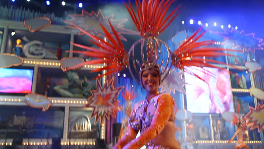 LAS PALMAS DE GRAN CANARIA, SPAIN - FEBRUARY 22: Carnival group in the Adult Costume Competition dance during the Gran Gala of the Carnival on February 22, 2012 in Las Palmas, Spain. - HD stock footage clip