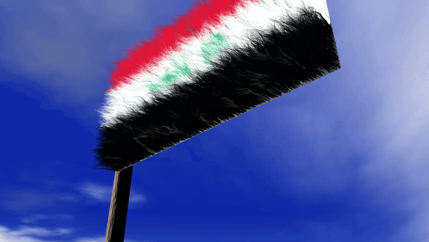 Hairy Iraqi flag, animation in hdtv, 1080i.